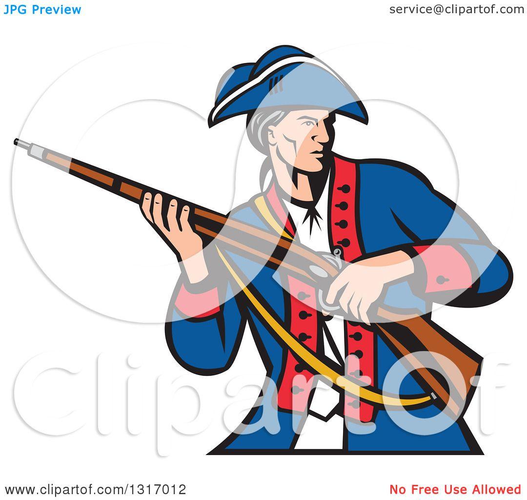 clipart of a retro cartoon american patriot militia soldier rh clipartof com patriotic clipart black and white patriots clip art free