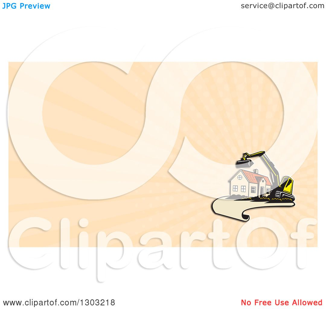 Clipart of a retro cartoon excavator and house on a blueprint page clipart of a retro cartoon excavator and house on a blueprint page and pastel orange rays background or business card design royalty free illustration by malvernweather Gallery