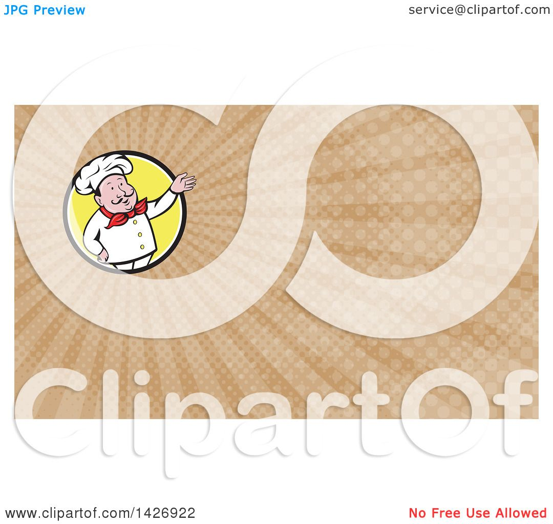 Clipart of a Retro Cartoon Male French Chef Presenting and Brown ...