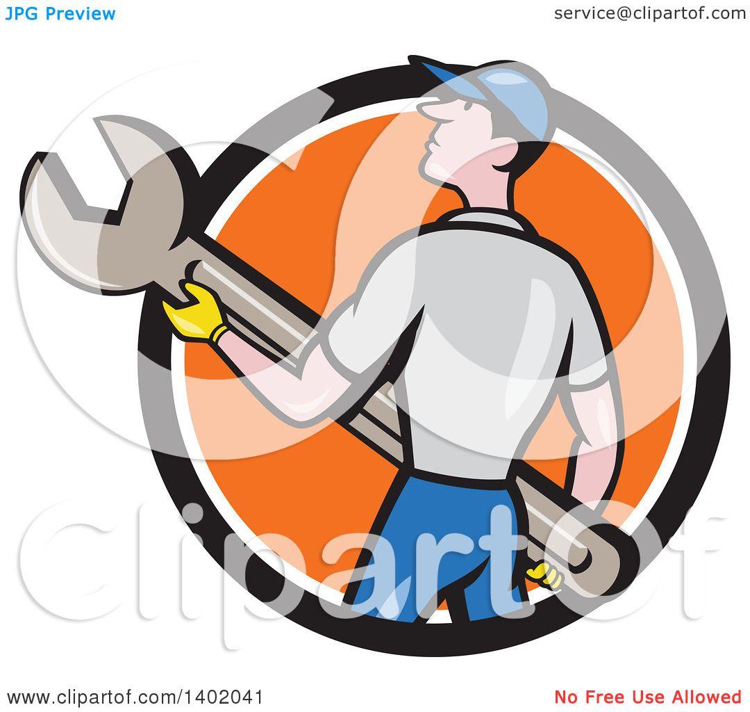 clipart of a retro cartoon white handy man or mechanic holding a