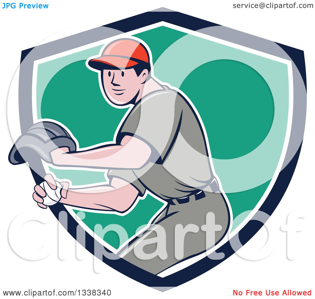 Clipart of a Retro Cartoon White Male Baseball Player ...