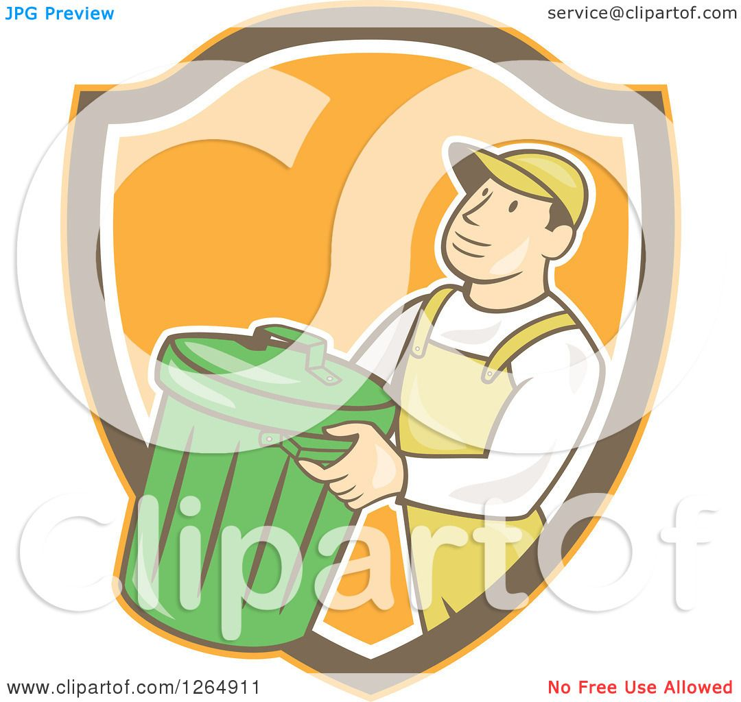 Clipart Of A Retro Cartoon White Male Garbage Man Carrying A
