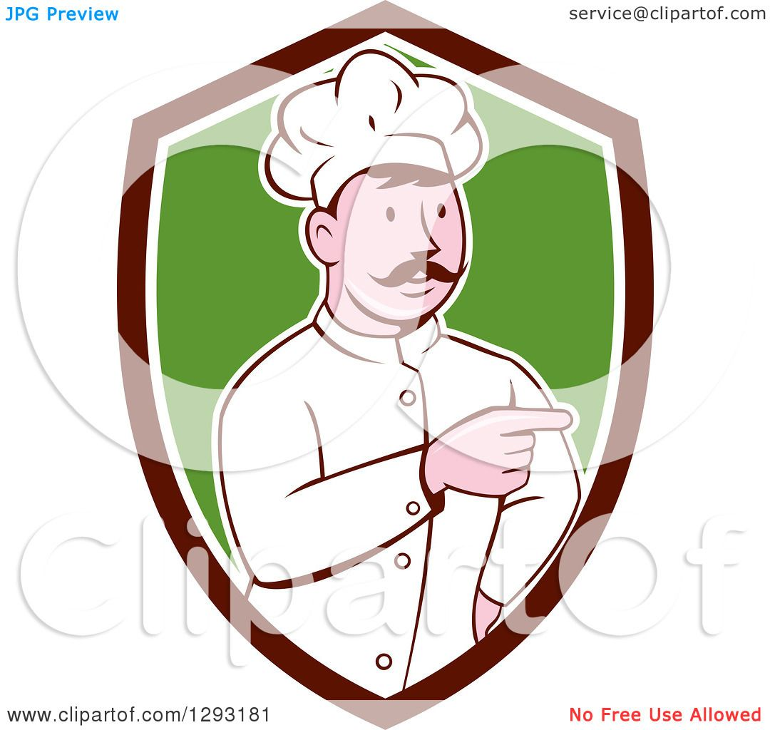Clipart of a Retro Cartoon White Male Head Chef with a ...