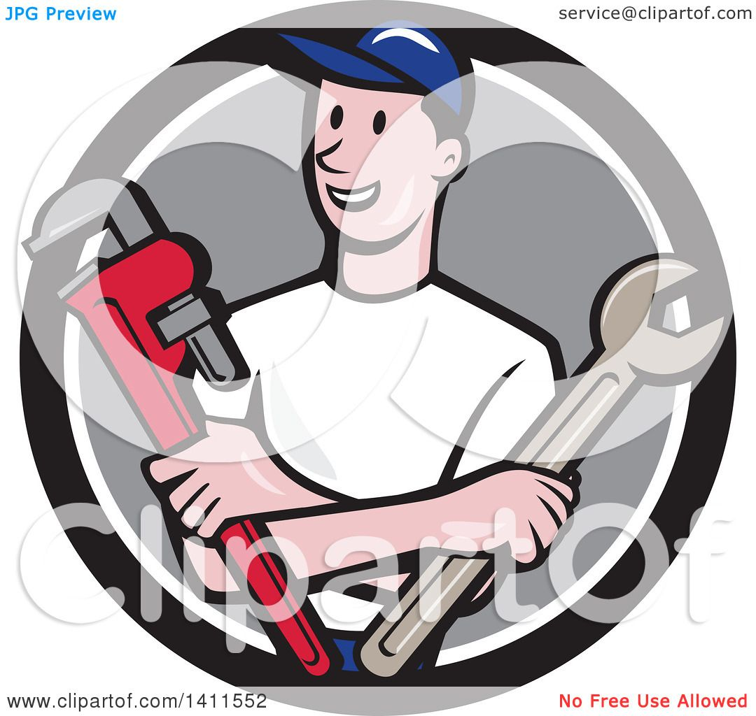 Clipart of a Retro Cartoon White Male Plumber, Mechanic or ...