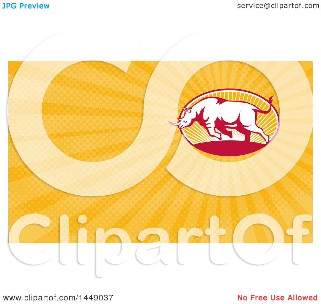 Clipart of a Retro Charging Rhino and Orange Rays Background or ...