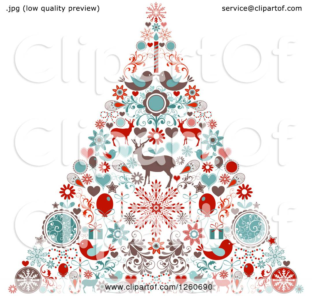 Clipart Of A Retro Christmas Tree Made Of Up Holiday Items Royalty