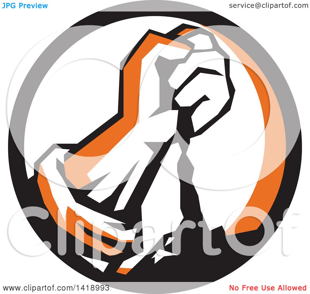 Clipart Of A Retro Clenched Fist Pouring Dirt In A Black