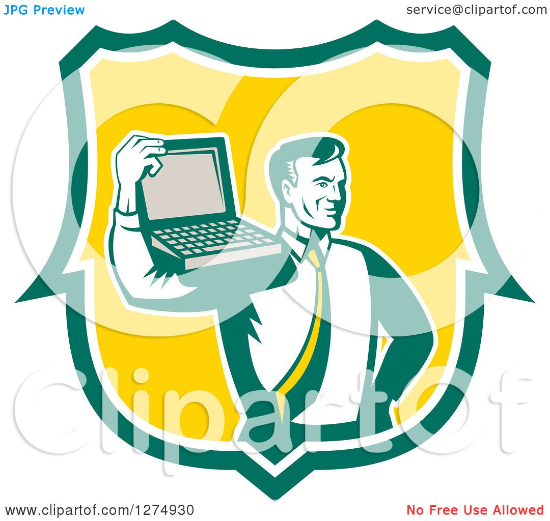 clipart of a retro computer repair or business man with a laptop on rh clipartof com