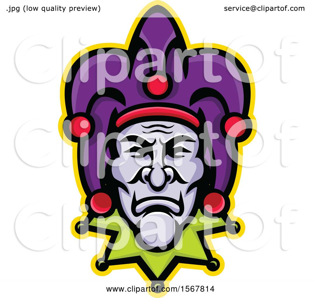 639181f918 Clipart of a Retro Court Jester Face - Royalty Free Vector Illustration by  patrimonio