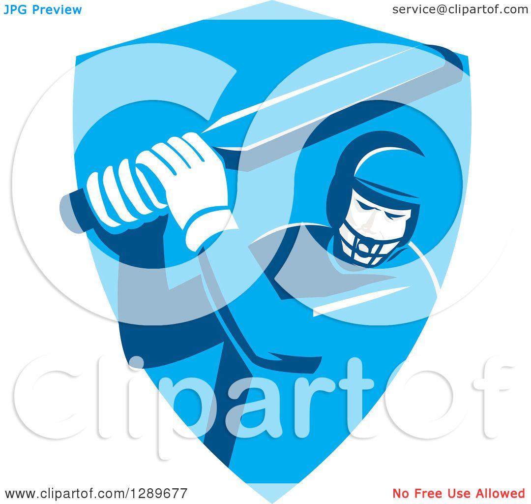 Clipart of a Retro Cricket Player Batsman in a Blue Shield ...