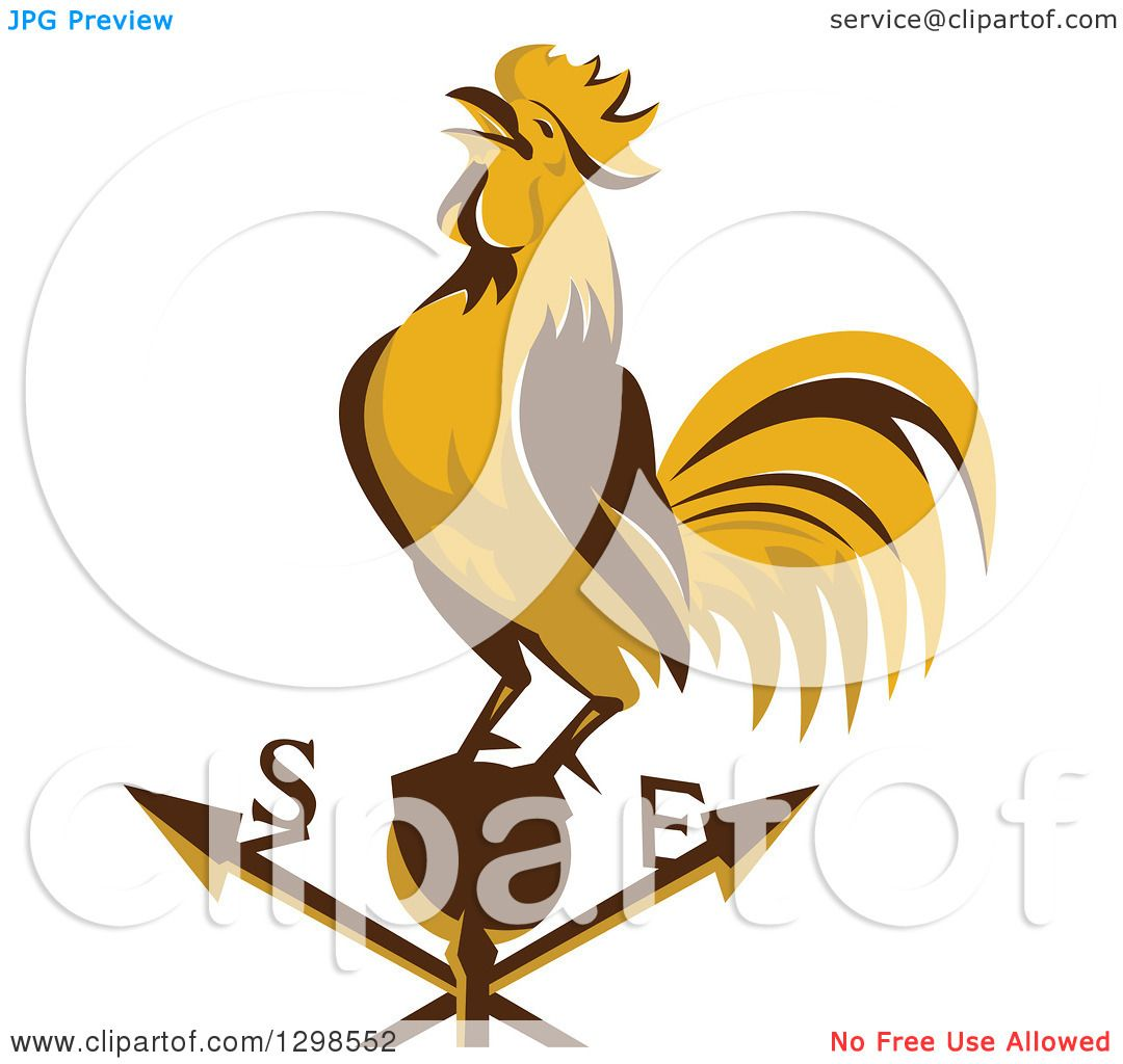 Clipart of a Retro Crowing Rooster on a Weather Vane ...