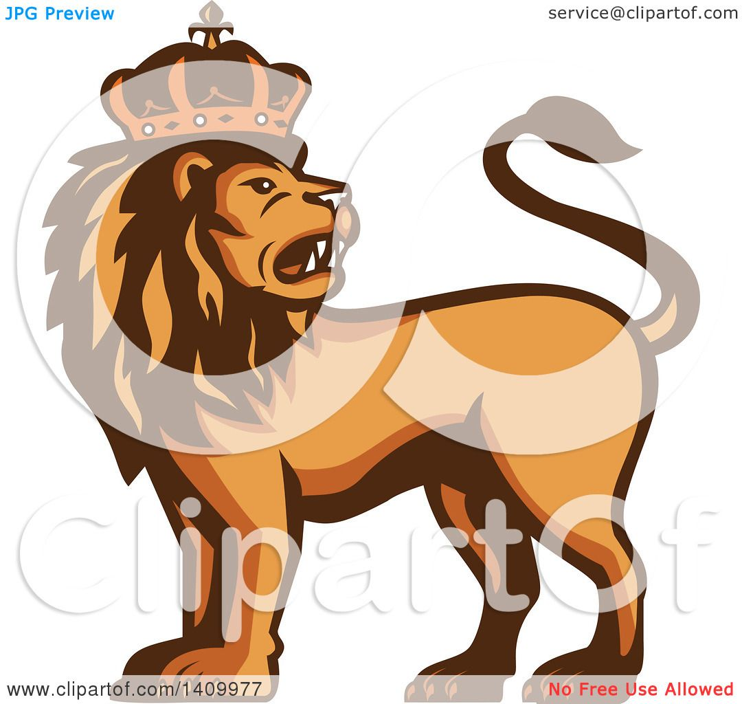Clipart of a Retro Crowned King Lion - Royalty Free Vector ...