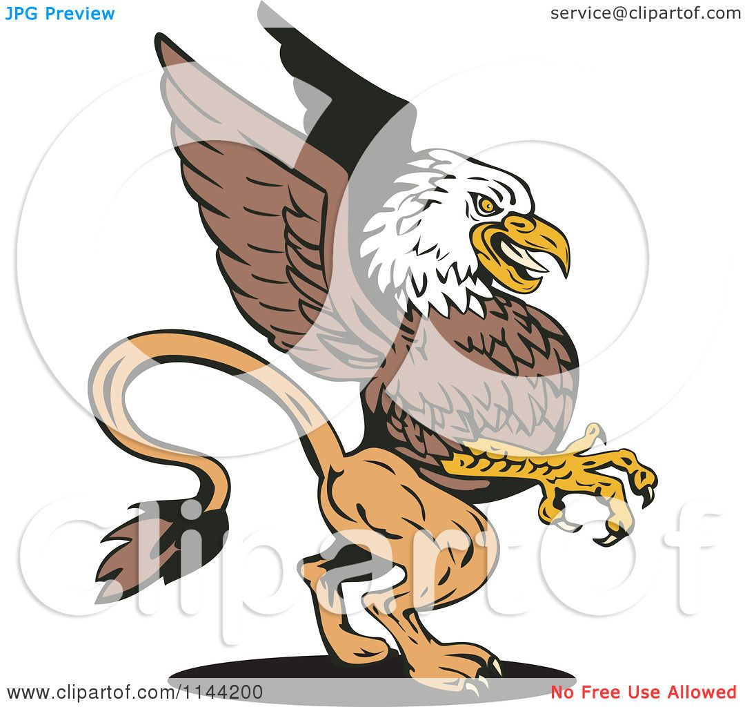 Clipart Of A Retro Eagle Griffin Royalty Free Vector
