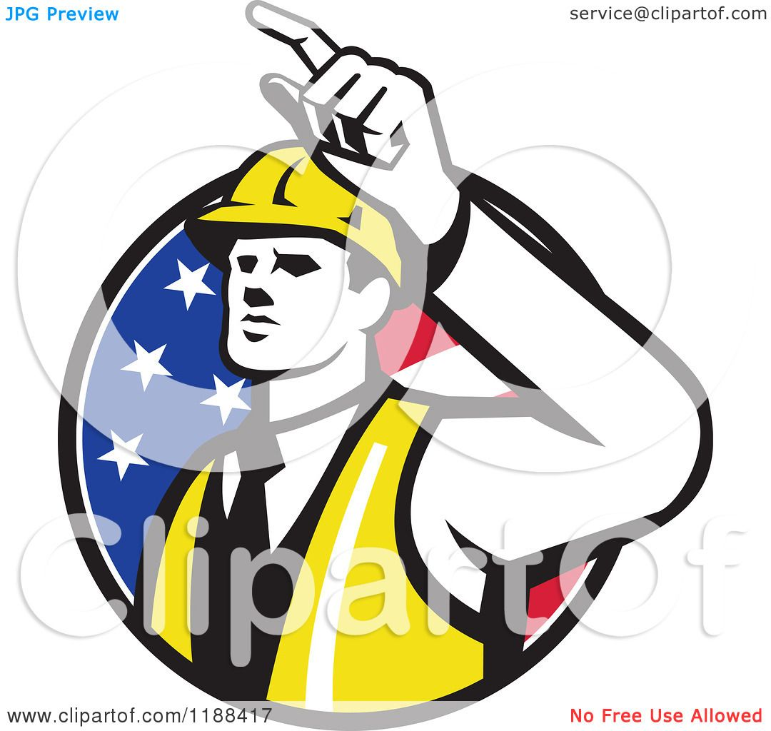 Clipart Of A Retro Engineer Construction Worker Pointing