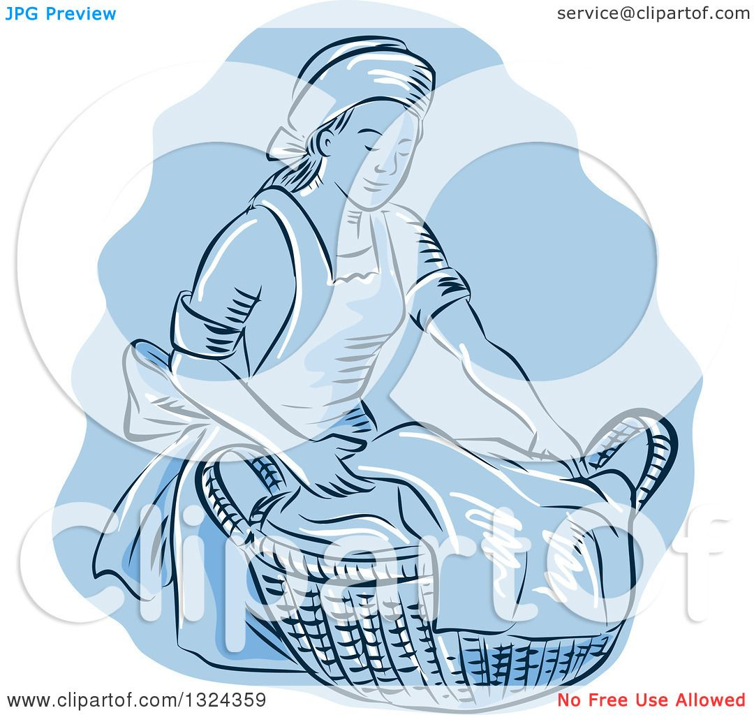 Clipart of a Retro Engraved or Sketched Maid Carrying a ...