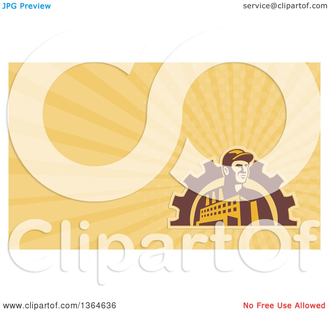 Clipart of a Retro Factory Worker Mechanic in a Gear Arch and Yellow ...
