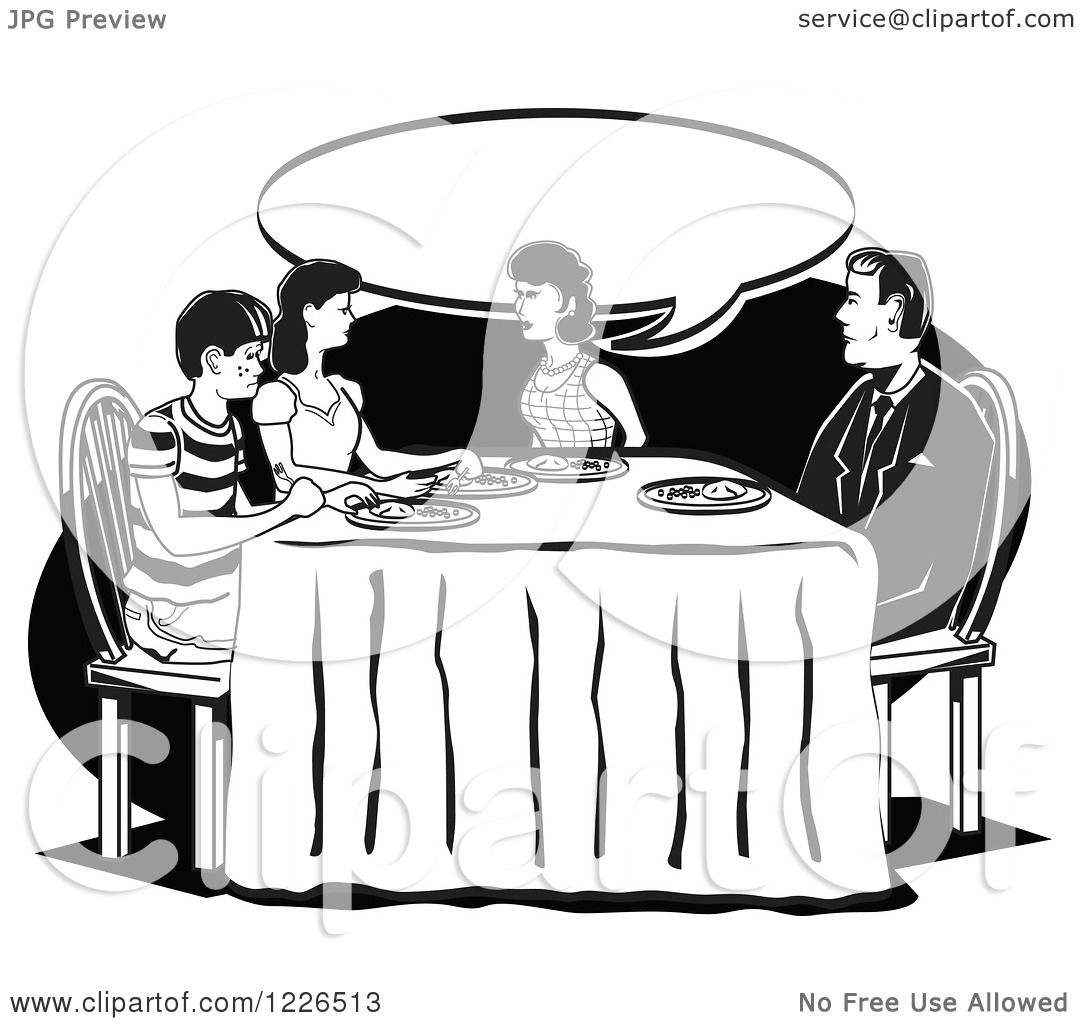 Clipart Of A Retro Family Talking At The Dinner Table In Black And White
