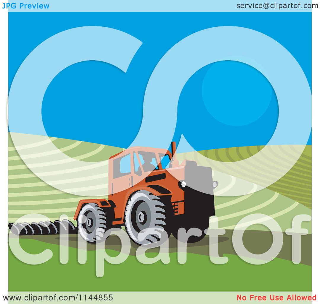 Clipart Of A Retro Farmer Operating A Tractor On A Field 1