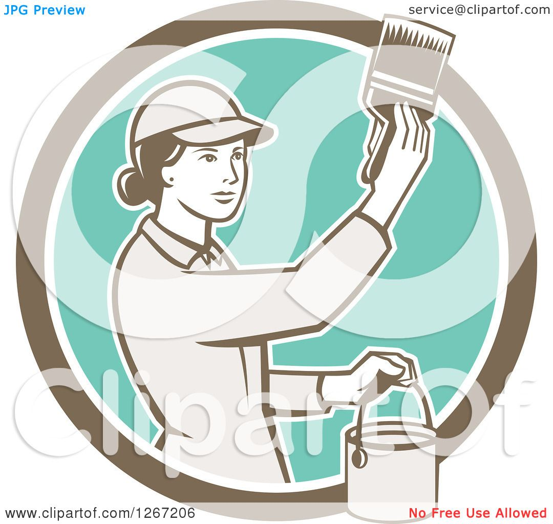 clipart of a retro female house painter using a brush in a House Painter Logos Cartoon House Painter