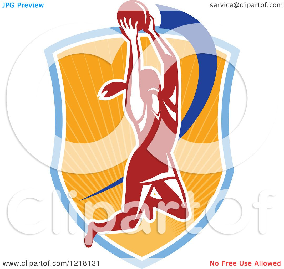 Clipart of a Retro Female Netball Player Rebounding over a Sunny ...