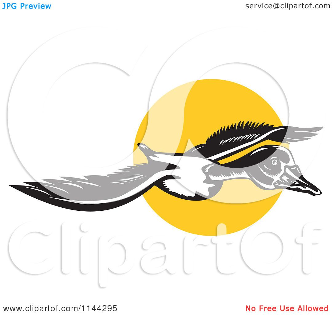 clipart of a retro flying goose and sun royalty free vector rh clipartof com Free Vintage Graphics Free Vintage Design Elements