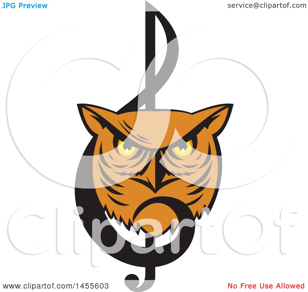 Clipart of a Retro Great Horned Owl Face in a Music Clef ...