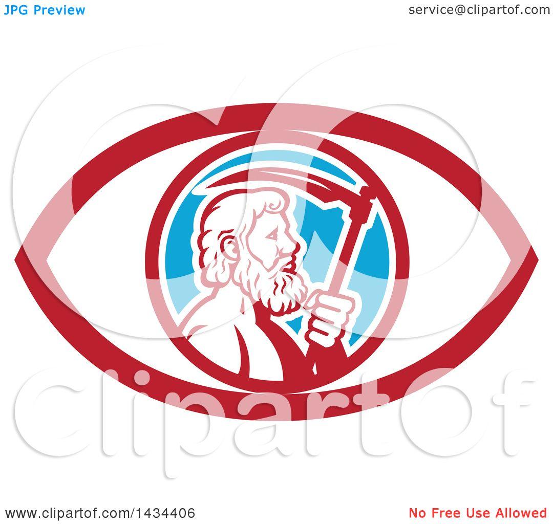 Clipart of a retro greek god cronus or kronos holding a scythe in clipart of a retro greek god cronus or kronos holding a scythe in an eye royalty free vector illustration by patrimonio buycottarizona Images