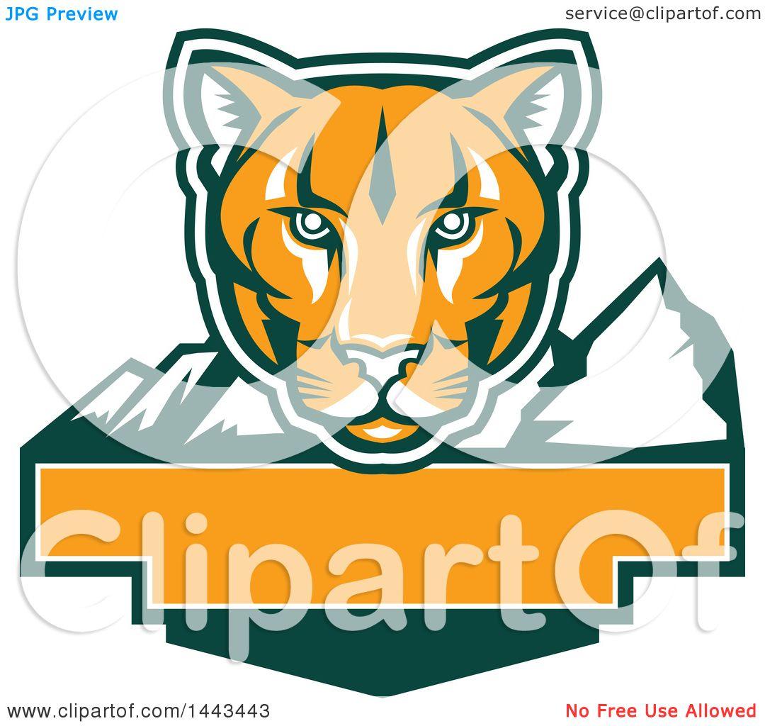 Clipart of a Retro Green, Orange and White Puma Cougar Mountain ...