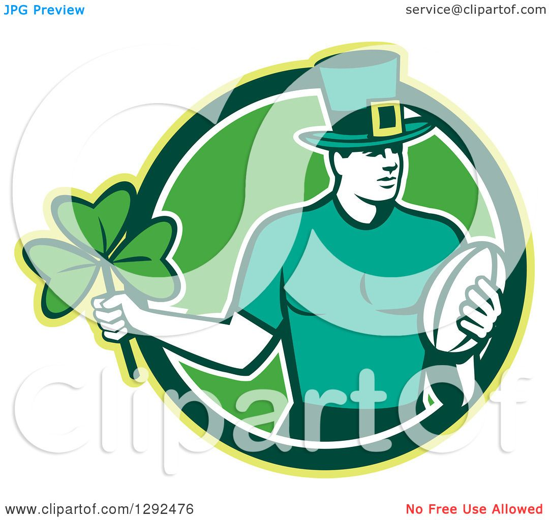 Green Rugby Player: Clipart Of A Retro Irish Rugby Player With A Ball And