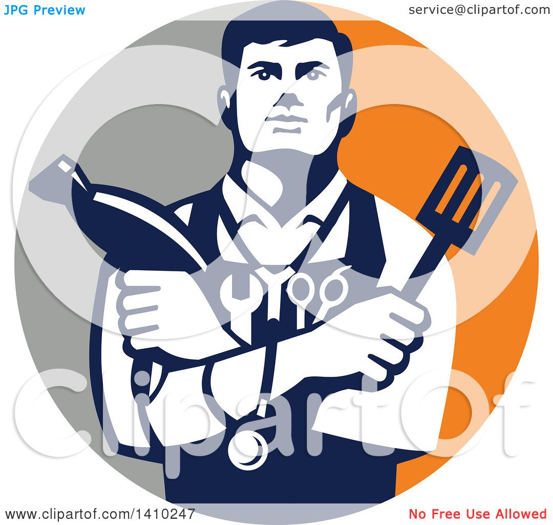 Clipart Of A Retro Jack Of All Trades Worker Man Holding A