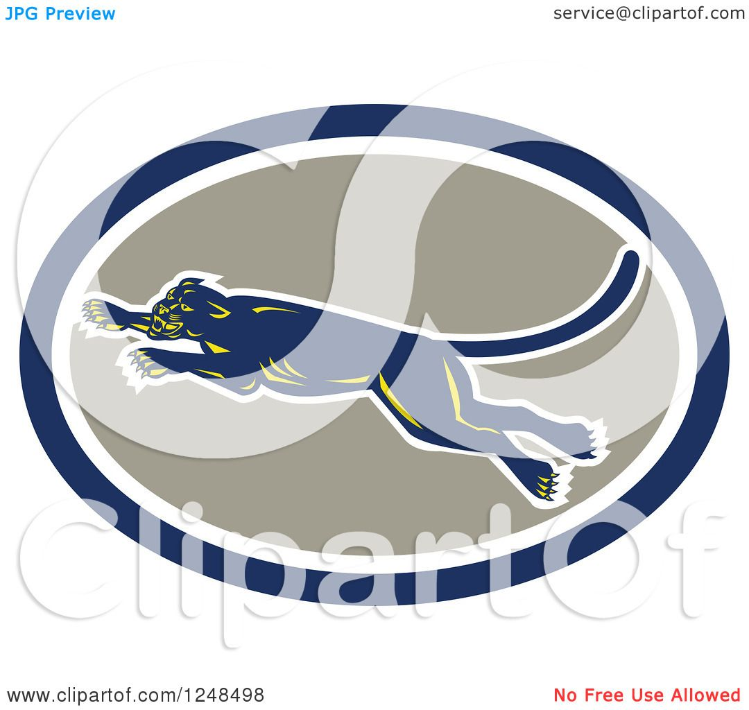 Clipart of a Retro Leaping Panther in an Oval - Royalty ...