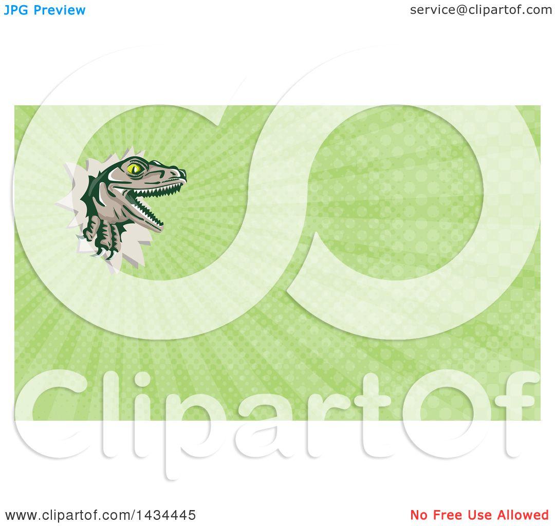 Clipart of a retro lizard rator or tyrannosaurus rex for Green card through business