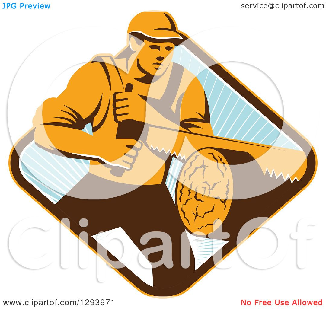 Clipart of a Retro Lumberjack Logger Man Using a Crosscut ...