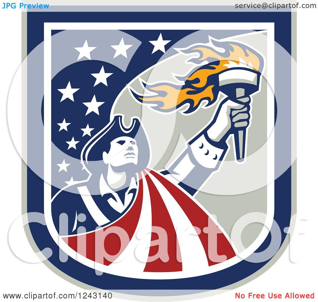 clipart of a retro male american patriot a torch in a stars clipart of a retro male american patriot a torch in a stars and stripes shield royalty vector illustration by patrimonio