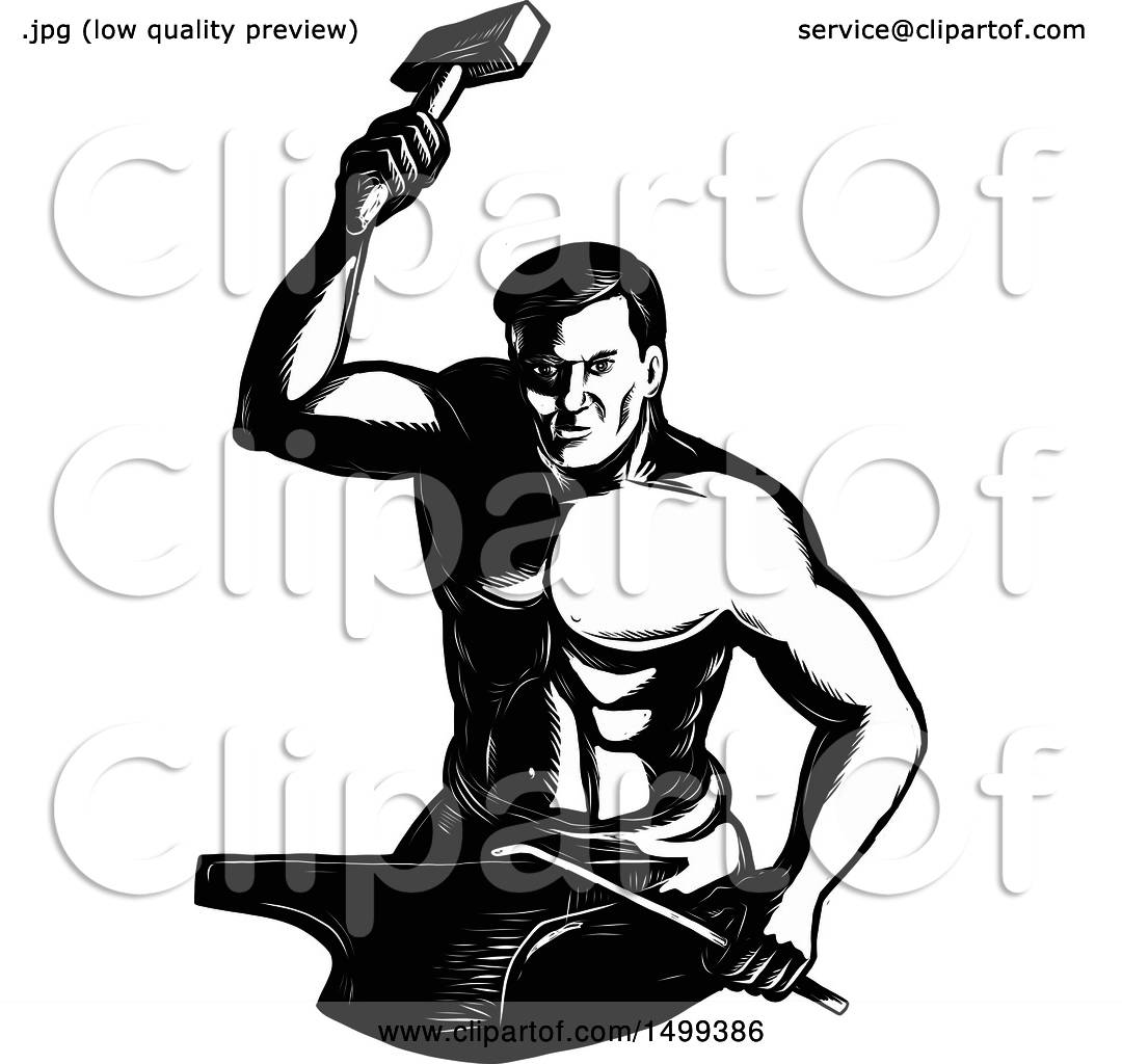 Clipart of a Retro Male Blacksmith in Engraving Style ...