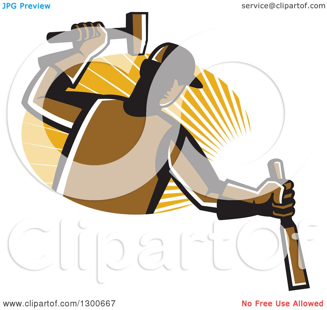 Clipart of a Retro Male Carpenter Hammering a Chisel over an Oval ...