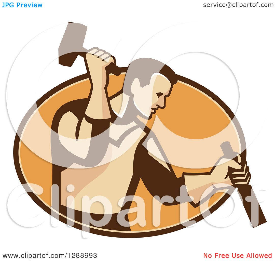 Clipart of a Retro Male Carpenter Holding a Hammer and ...