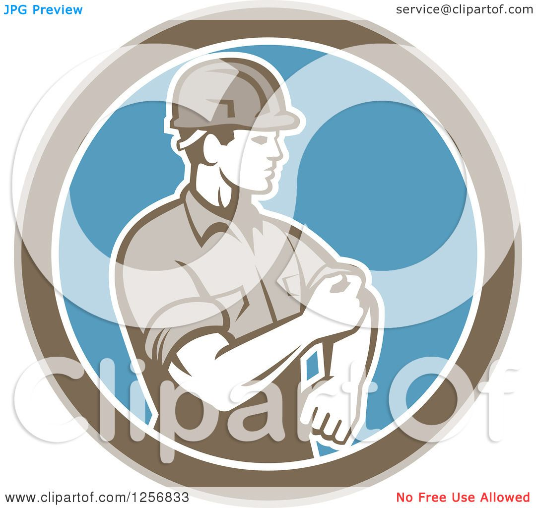Clipart of a retro male construction worker rolling up his
