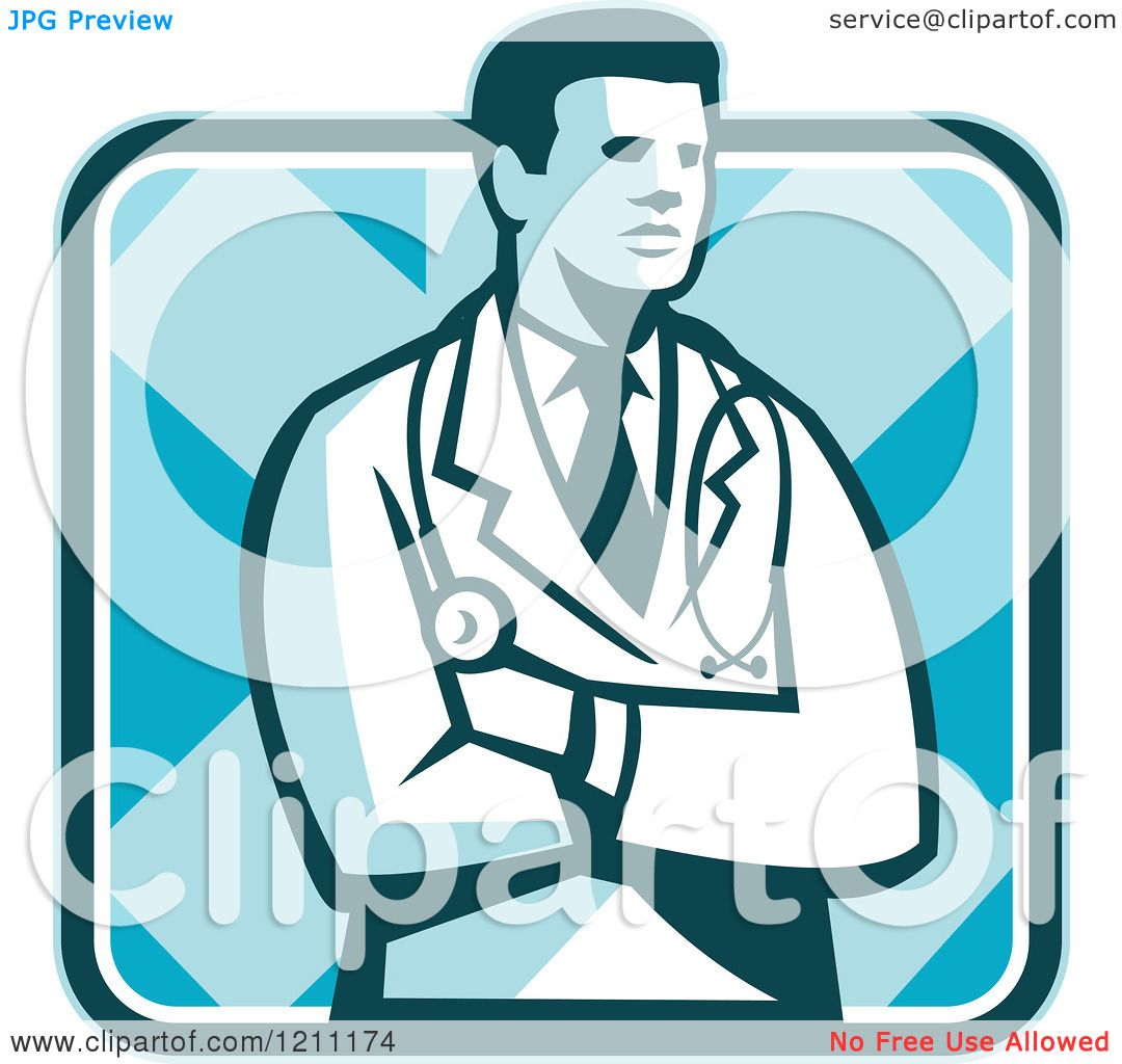 Clipart of a Retro Male Doctor Standing with Folded Arms ...