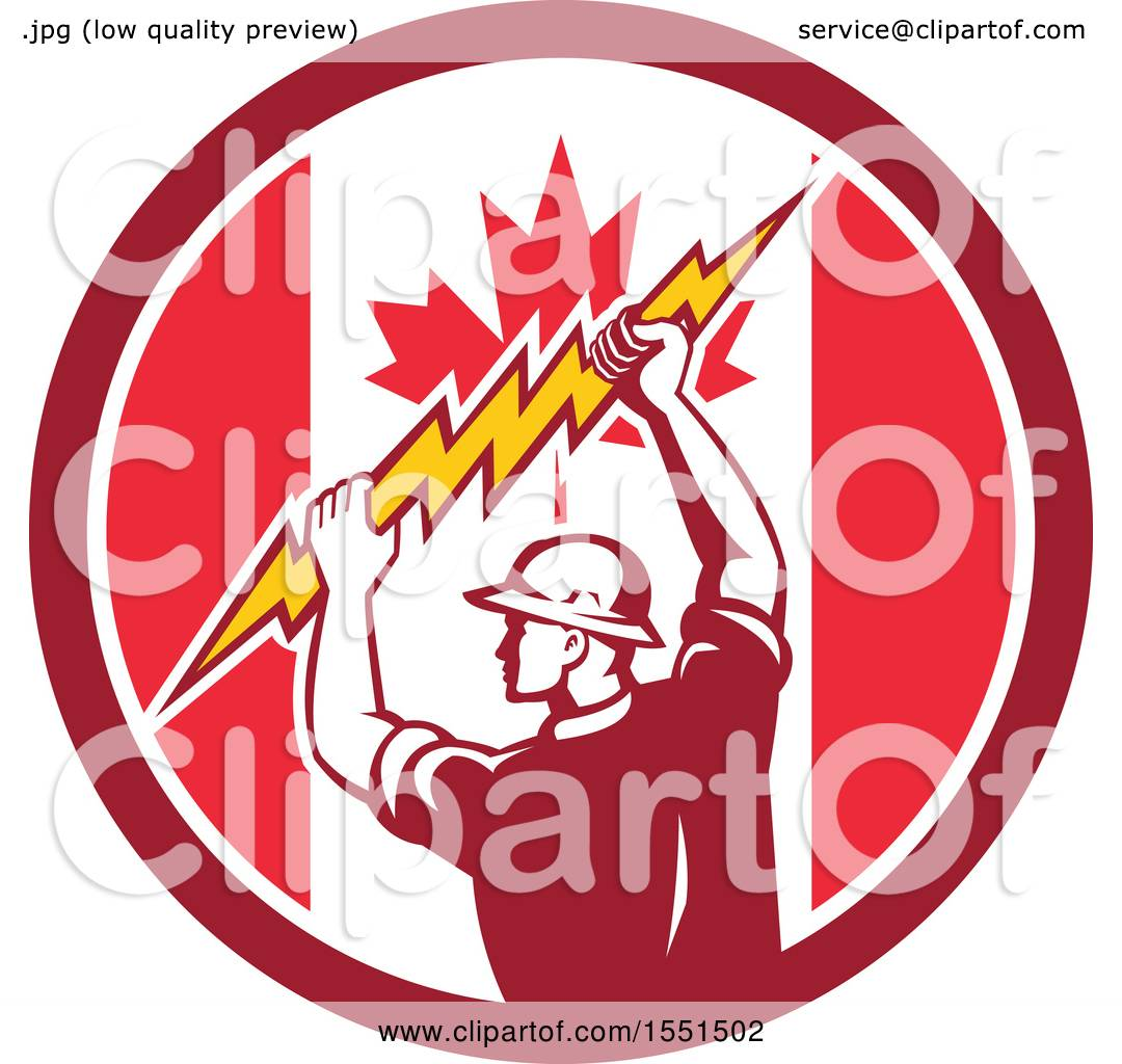 Clipart Of A Retro Male Electrician Holding A Lightning