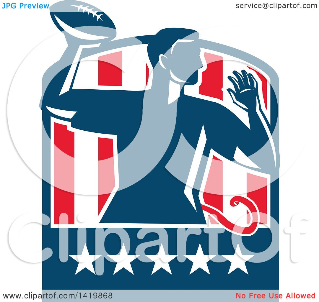 clipart of a retro male flag football player passing in a flag crest rh clipartof com flag football clipart black and white flag football player clipart