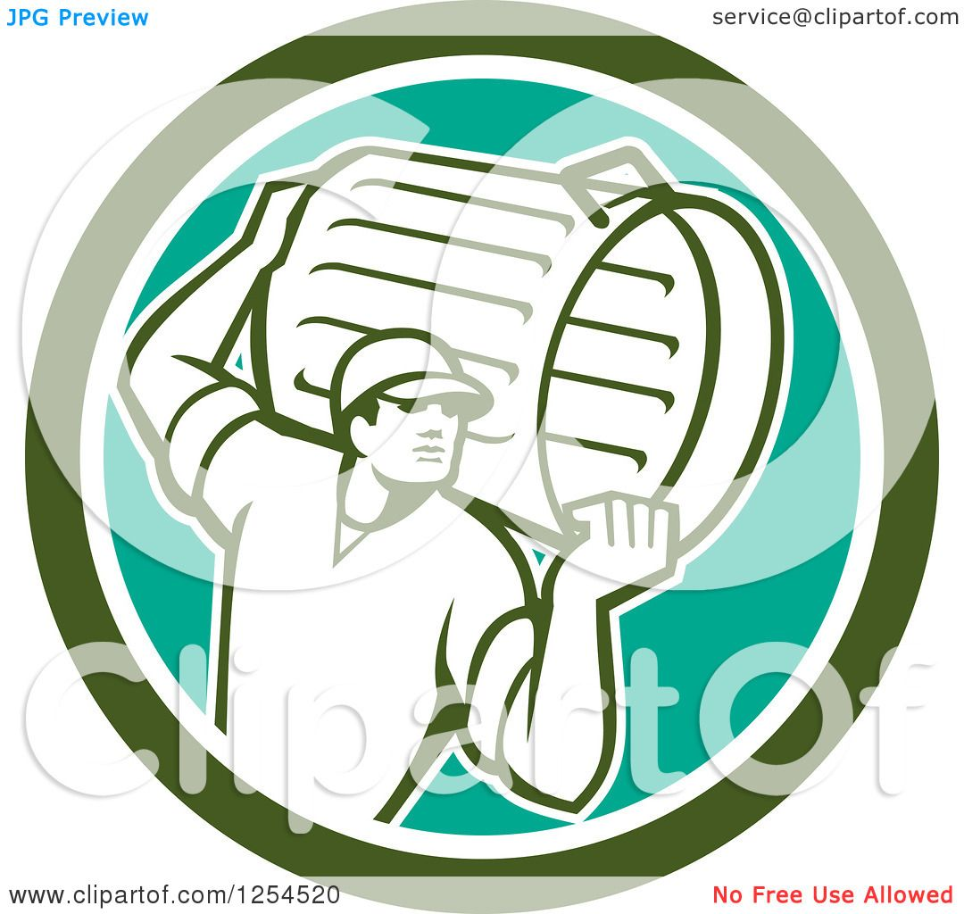Clipart Of A Retro Male Garbage Man Carrying A Can In A