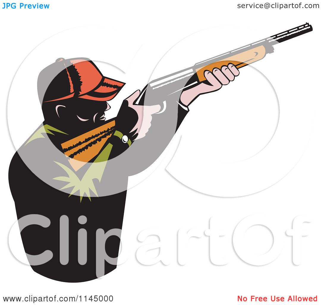 Clipart of a Retro Male Hunter Aiming a Rifle - Royalty Free ...