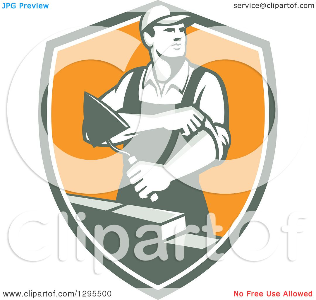 Clipart of a retro male mason worker rolling up his