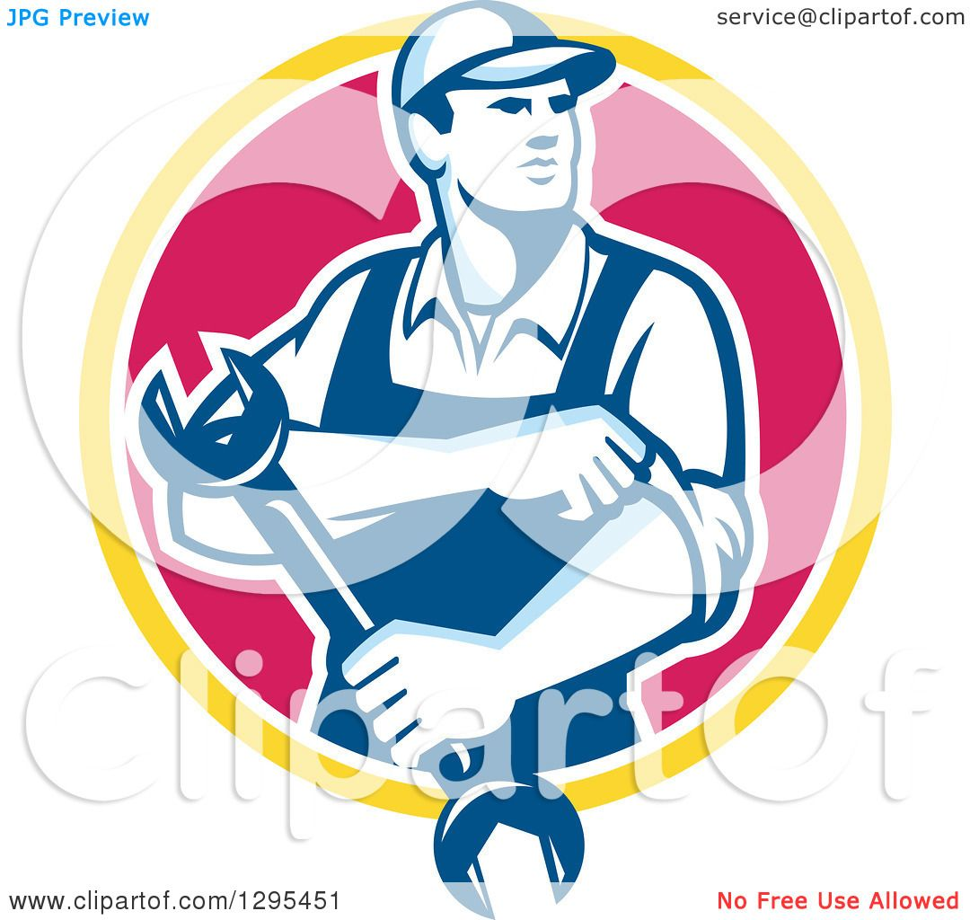 Clipart of a retro male mechanic rolling up his sleeves