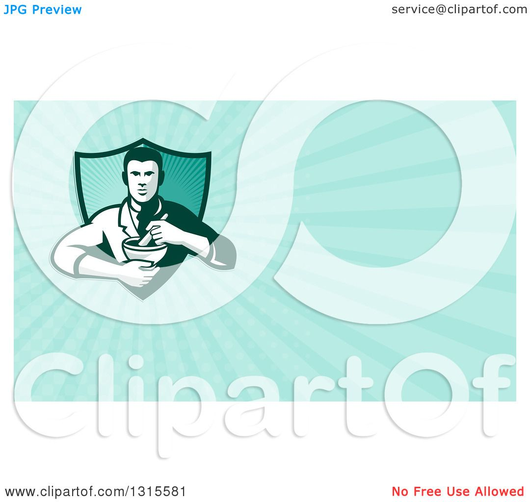 Clipart of a Retro Male Pharmacist Holding a Mortar and Pestle and ...