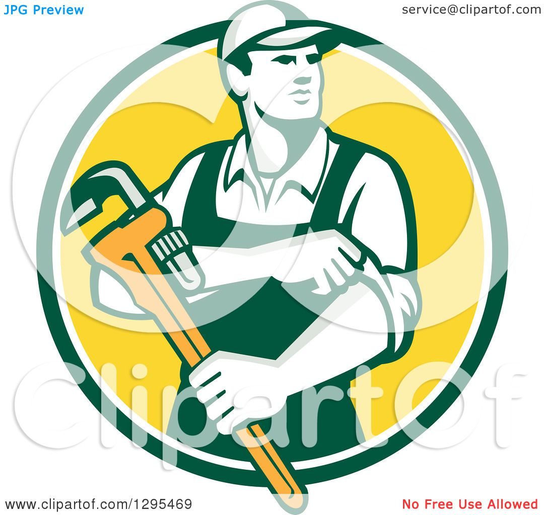 Clipart of a retro male plumber holding monkey wrench