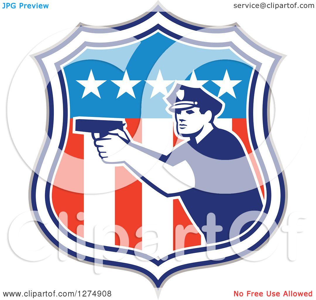 Black Shield Police American Flag Police Shield