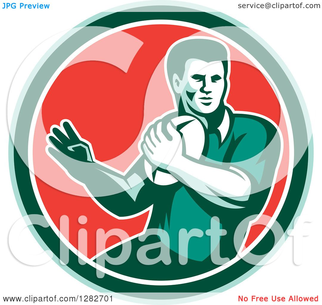 Green Rugby Player: Clipart Of A Retro Male Rugby Player In A Green White And