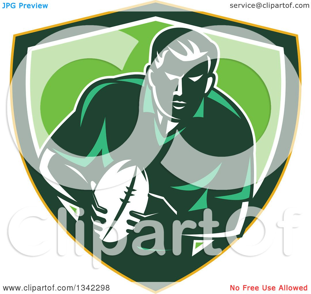 Green Rugby Player: Clipart Of A Retro Male Rugby Player With The Ball Inside